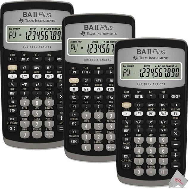 Three Texas Instruments BA II PLUS 10 Digit Financial Calculator