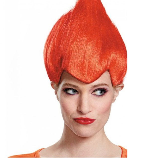 Red Wacky Wig Adult Troll Gnome Clown Doll Costume Team Dr. Seuss 90's New