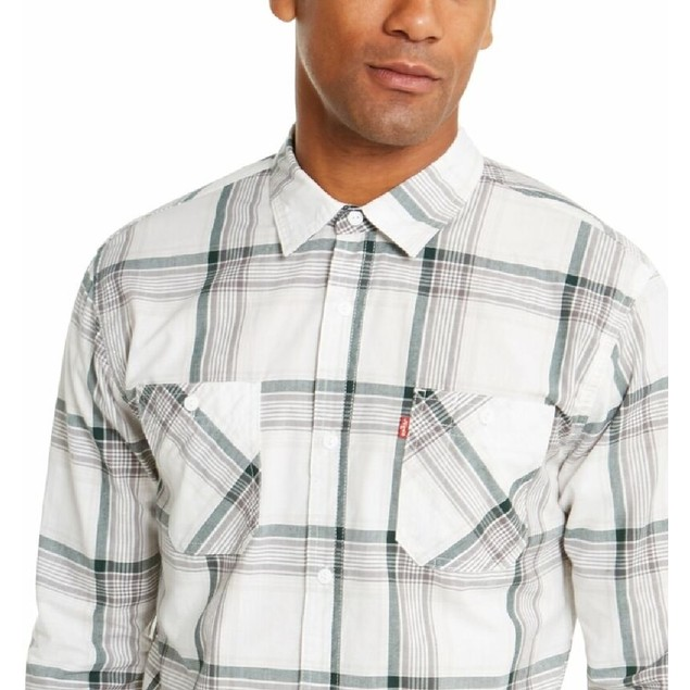 Levi's Men's Remick Plaid Shirt White Size Large