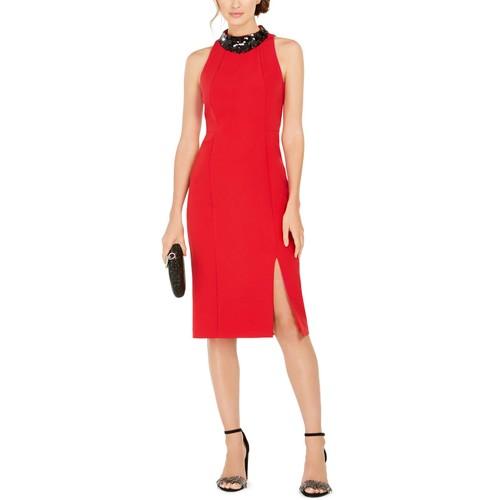 Taylor Women's Dresses Paillette Neck Sheath Dress Red Size 4
