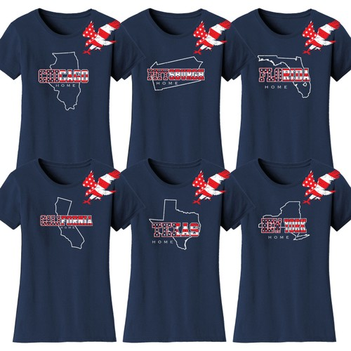 Women's American Home State and City USA T-Shirts