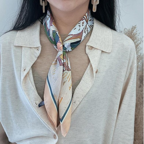 Multifunctional Women's Silk Scarf Small Square