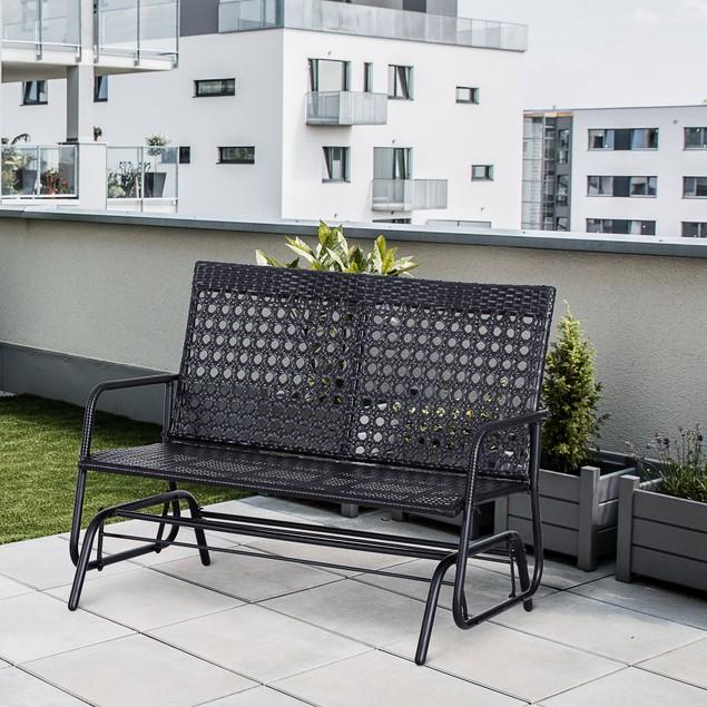 Patio Garden Glider Wicker Bench Double Person Swing Chair Deck Yard Rocker