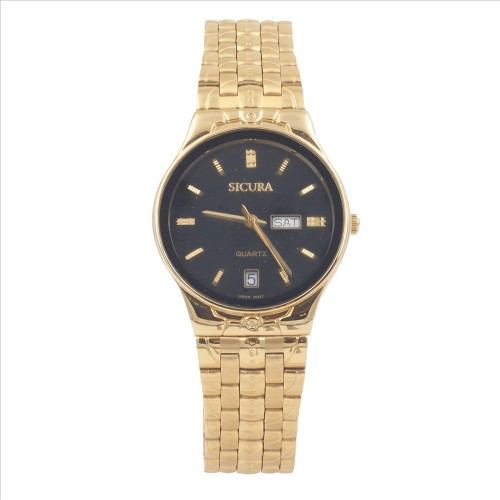 Sicura Men's Watches SJH 3574 52E Black Quartz Stainless Steel Gold Tone