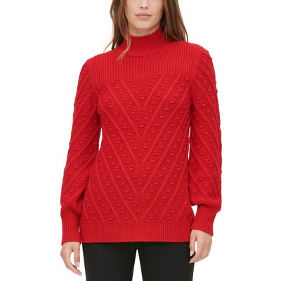 Calvin Klein Women's Multi-Textured Mock-Neck Sweater Red Size Small