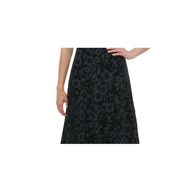 Tommy Hilfiger Women's Cap-Sleeve Velvet Burnout Dress Black Size 12