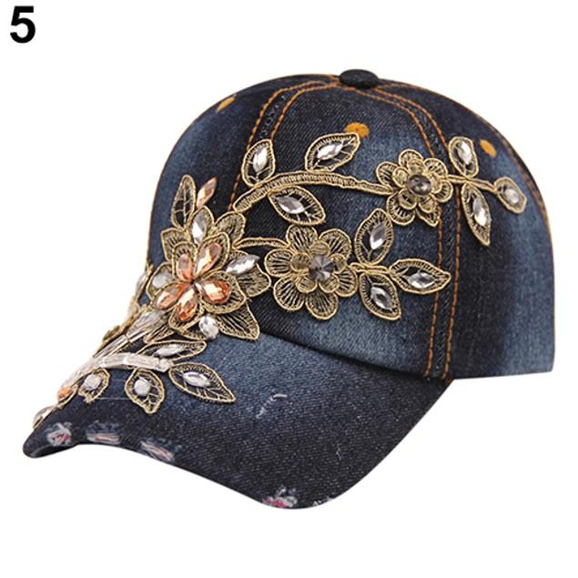 Women Embossing Flower Rhinestone Inlaid Jeans Hat