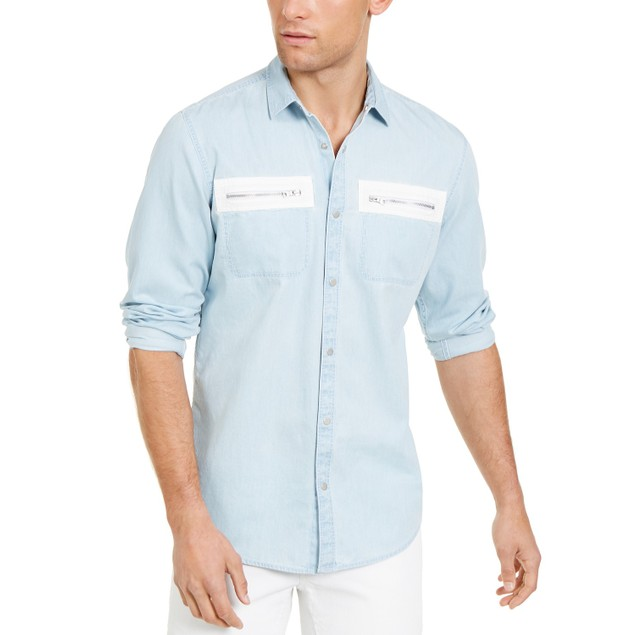 INC International Concepts Men's Avery Zip-Pocket Shirt  Blue Size XX Large
