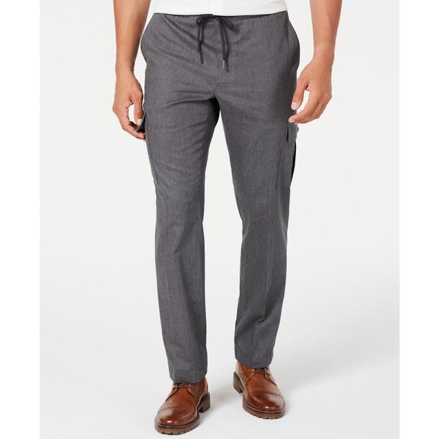 Tasso Elba Men's Stretch Drawstring Cargo Pants  Gray Size Large