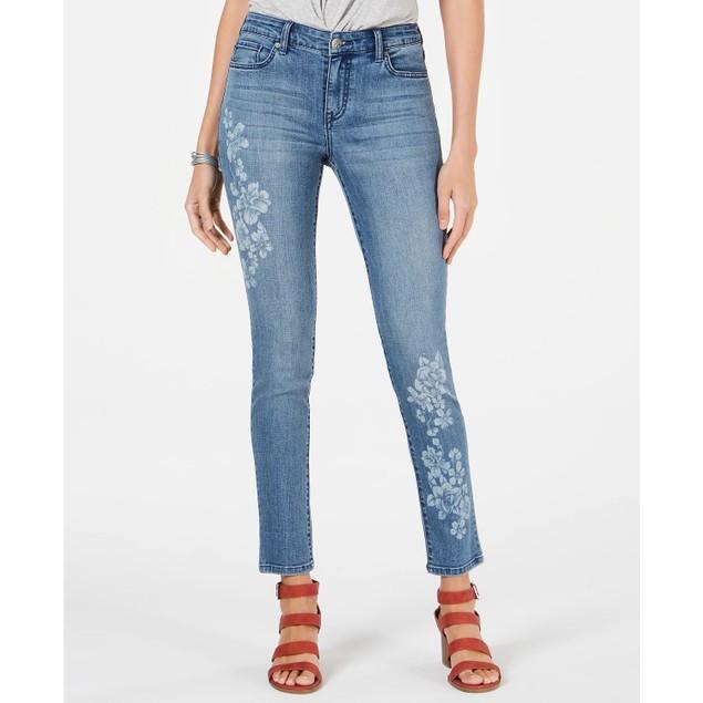 Style & Co Women's Floral-Embellished Skinny Jeans Med Blue Size 12