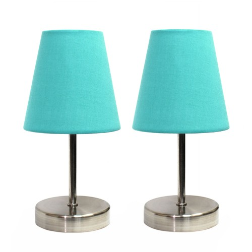 Simple Designs Sand Nickel Mini Basic Table Lamp with Fabric Shade - 2PK