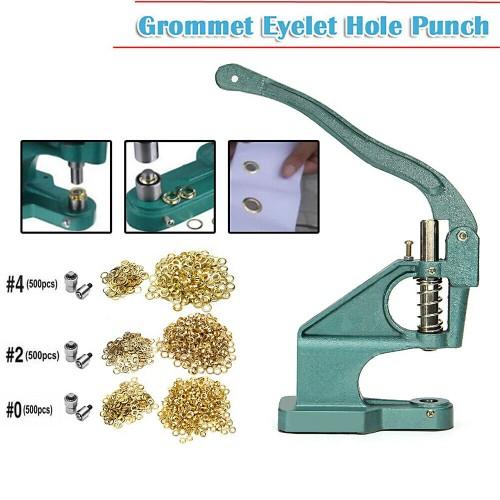 Grommet Machine 3 Die(#0 #2 #4)&1500 Grommets Eyelet Hand Press Tool B