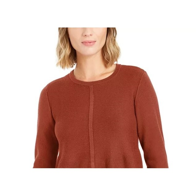 Style & Co Women's Knit Mixed Stitch Tunic Dark Orange Size Small