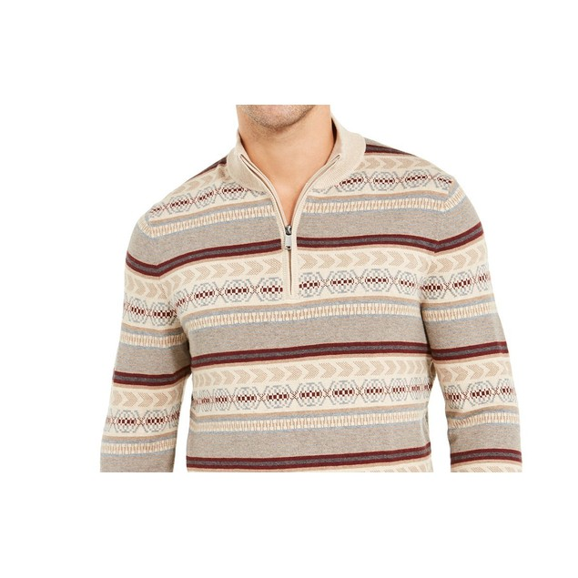Tasso Elba Men's Striped Quarter-Zip Sweater Beigekhaki Size Medium