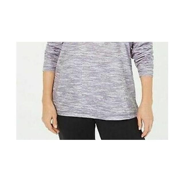 Karen Scott Women's Sport Space Dyed Cowlneck Top Grey Size Small