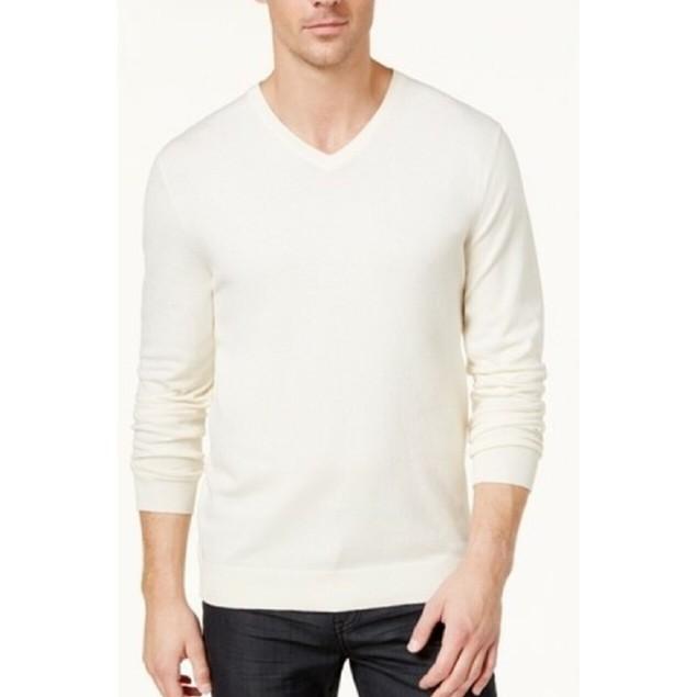 Alfani Men's V-Neck Sweater Ivory Size Extra Large