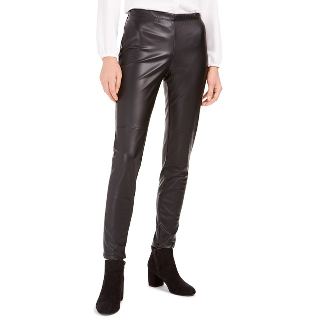 Bar III Women's Faux-Leather Skinny Pants Black Size X-Small