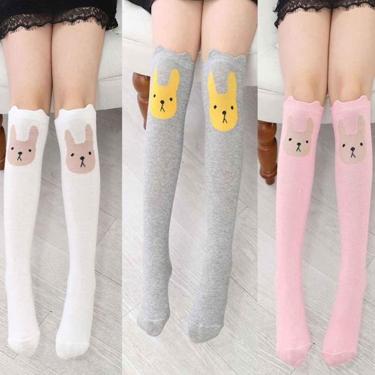 25644ca9e Children Kids Girl Animal Rabbit Pattern Print Knee High Socks Cute Socks  ...