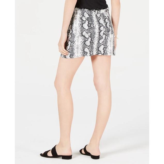 Tinseltown Junior's Snake Embossed Denim Mini Skirt Grey Size 3