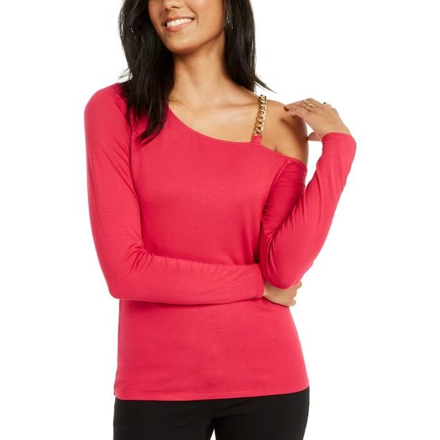 Thalia Sodi Women's Asymmetric Chain-Link Top Med Pink Size Small