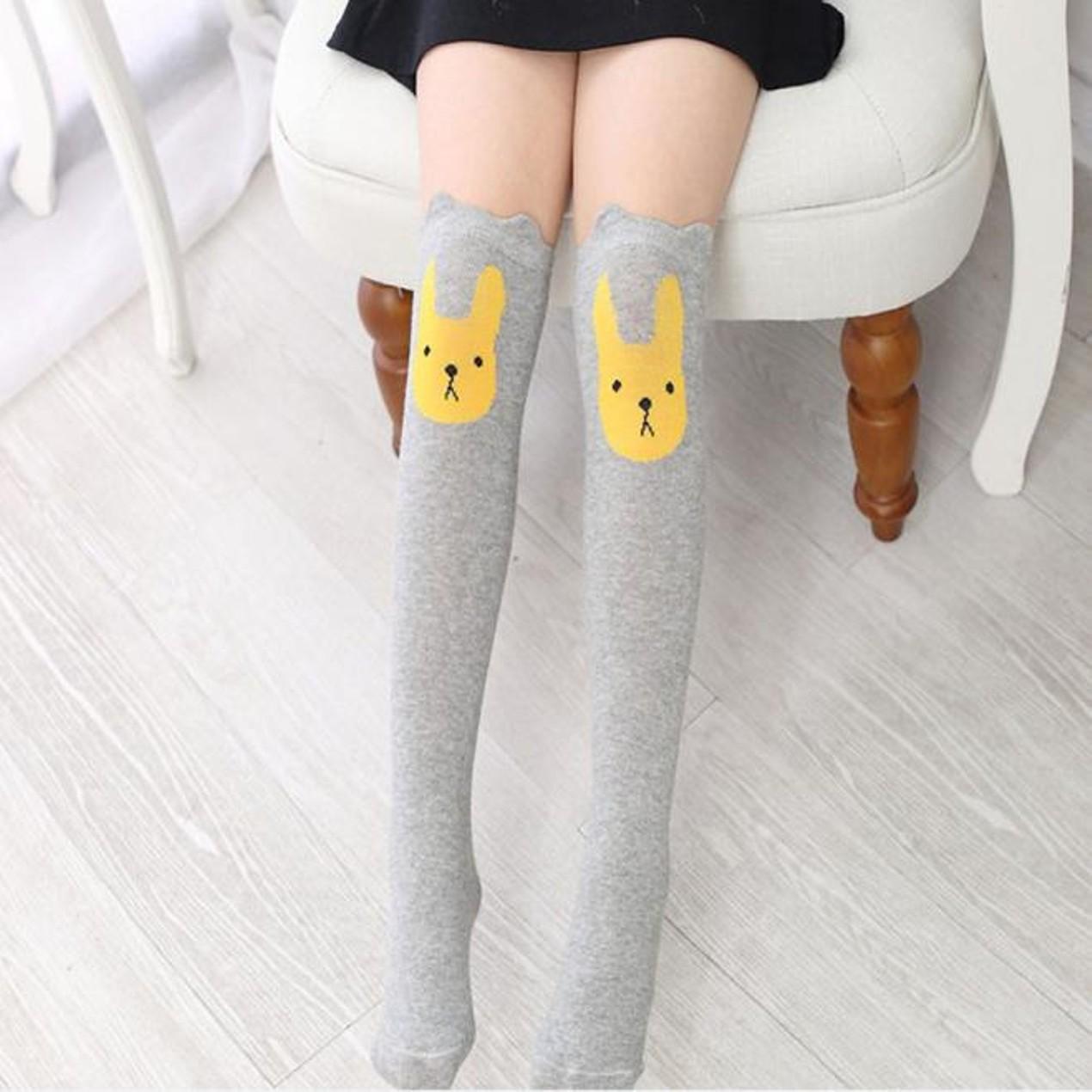 509e4d702 ... Children Kids Girl Animal Rabbit Pattern Print Knee High Socks Cute  Socks ...