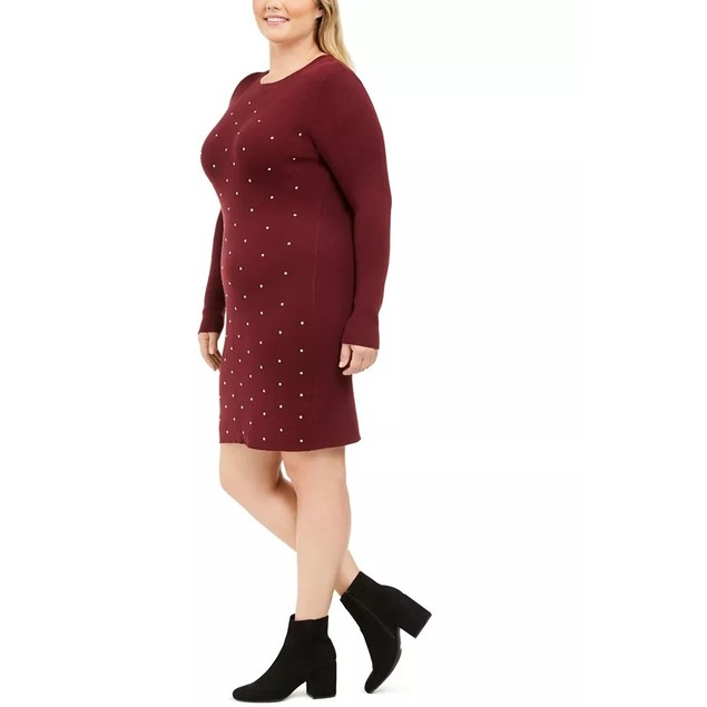 Derek Heart Women's Trendy Plus Studded Sweater Dress Red Size X-Large