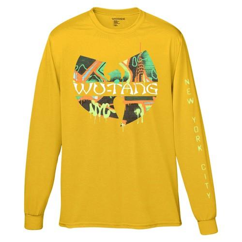 FEA Men's Wu-Tang Clan Graffiti Graphic T-Shirt Yellow Size Small