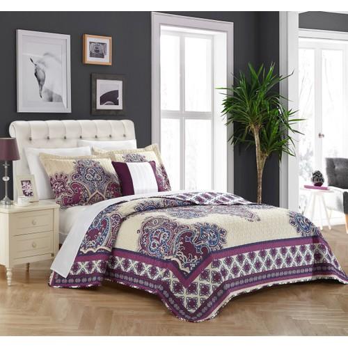 Chic Home 4 Pc. Punjab 100% Cotton XL Frame Vintage Boho Printed Quilt Set