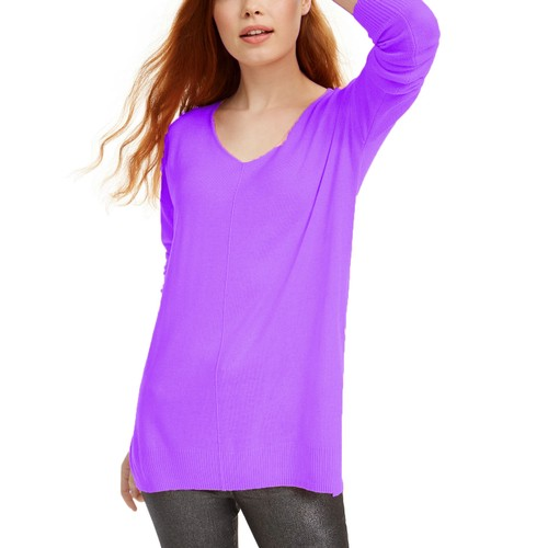 Hippie Rose Juniors' V-Neck Tunic Sweater Purple Size Small