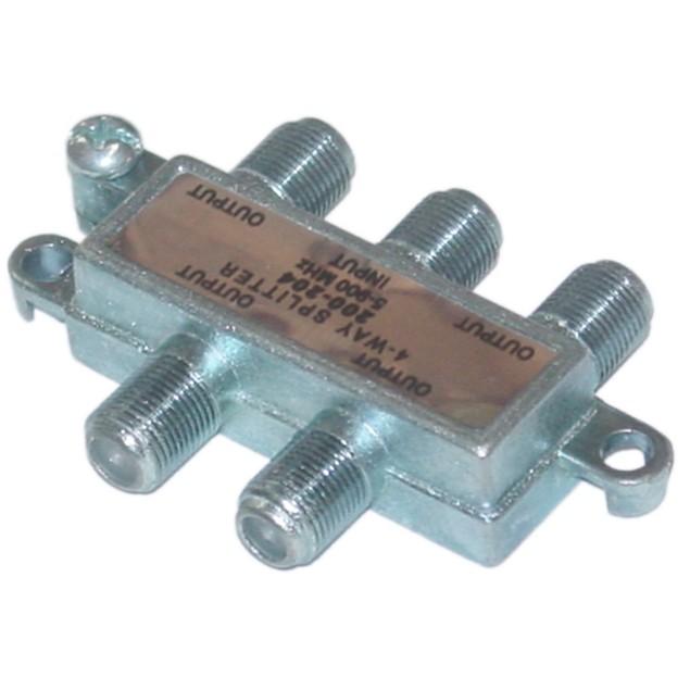 F-pin Coaxial Splitter, 4 Way