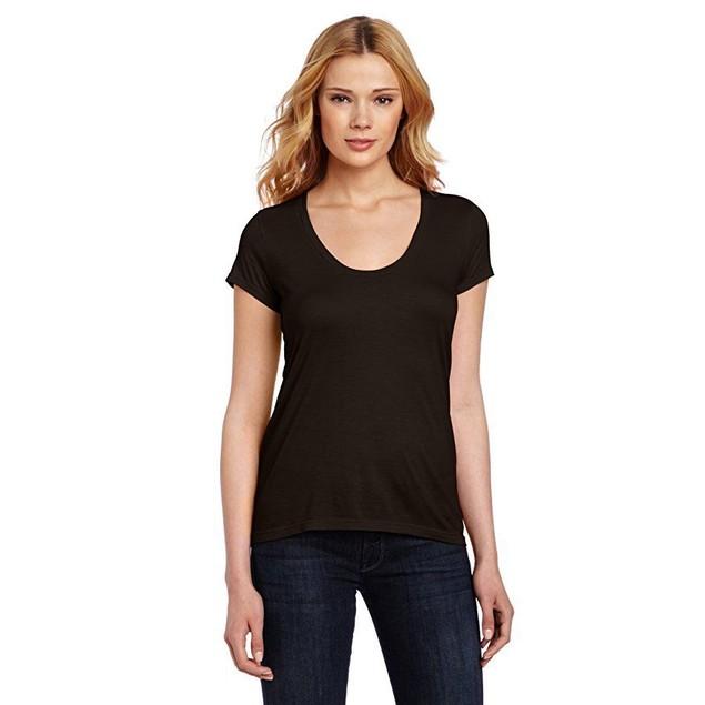 Splendid Women's Very Light Jersey Short Sleeve U Neck Tee, Black Sz: