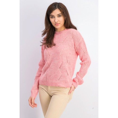 Hippie Rose Juniors' Marled Mock-Neck Sweater Pink Size Large