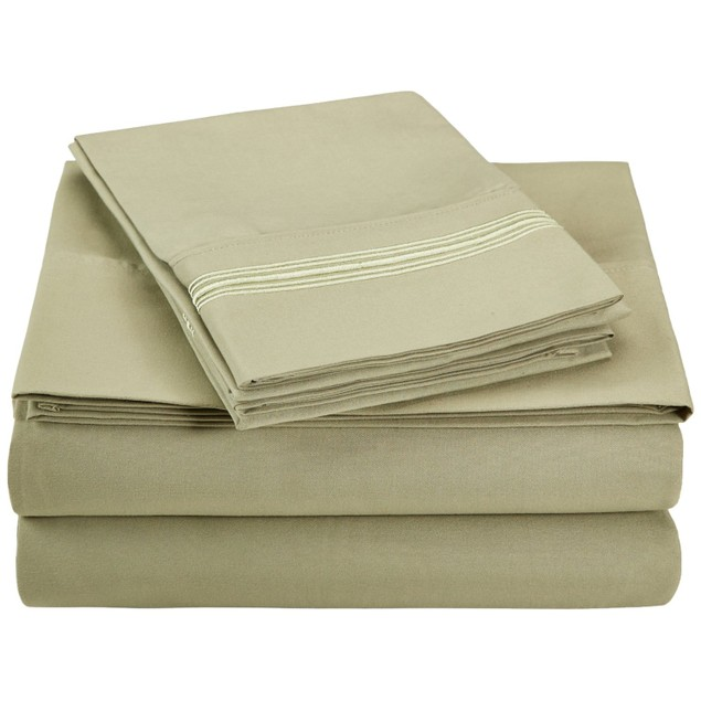 Embroidered 5 LINES Sheet Set, Wrinkle Free Microfiber, GIFT BOX