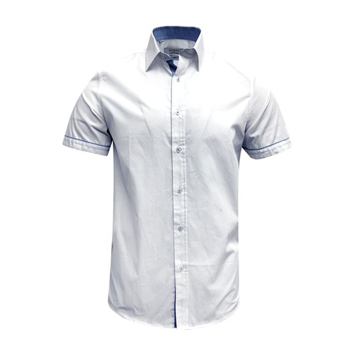 Monza Modern Fit Short Sleeve Solid White Dress Shirt