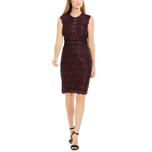 Nightway Women's Metallic Lace Sheath Dress Purple Size 8