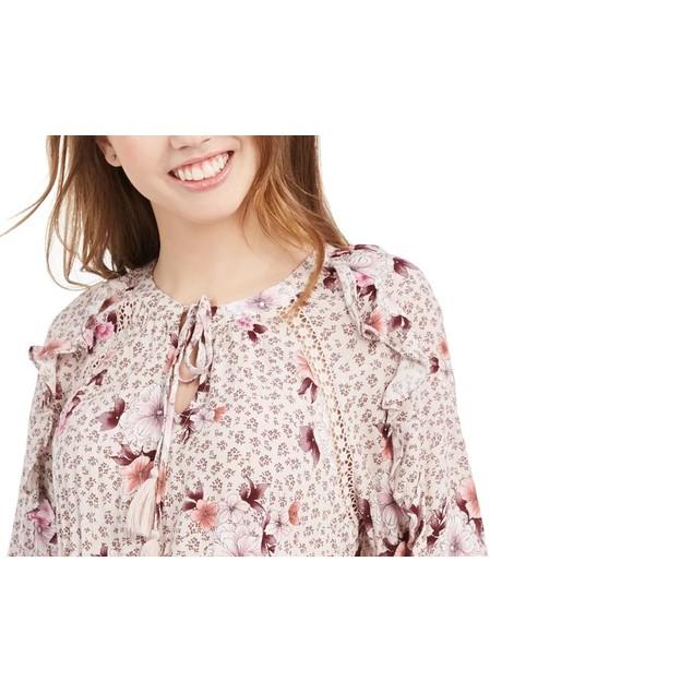 American Rag Juniors' Ruffled Floral-Print Dress Bright Pink Size XXS