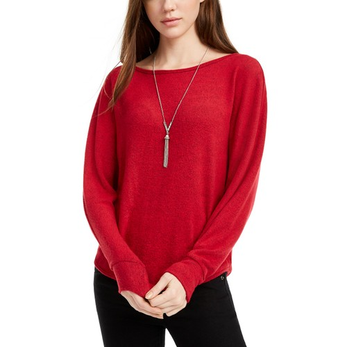 BCX Women's Juniors' Ribbed Sweater Red Size Large