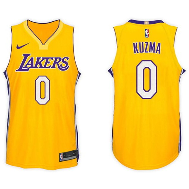 f0dba99ddcc 2017-18 wish Los Angeles Lakers  0 Kyle Kuzma Basketball Jersey Gold ...