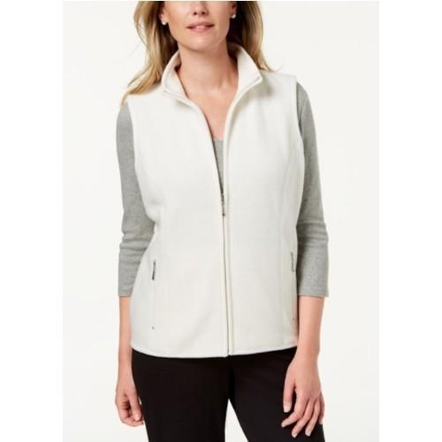 Karen Scott Women's Fleece Zip Front Vest White Size Petite Medium