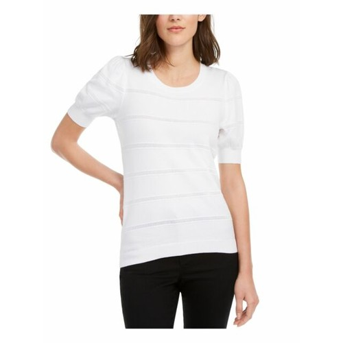 Maison Jules Women's Puff-Sleeve Sweater White Size Small