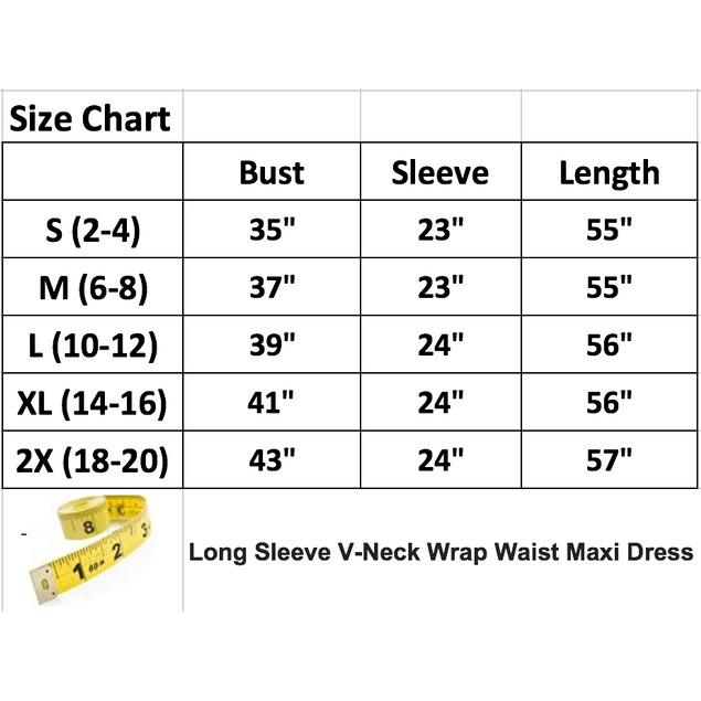 Long Sleeve V-Neck Wrap Waist Maxi Dress