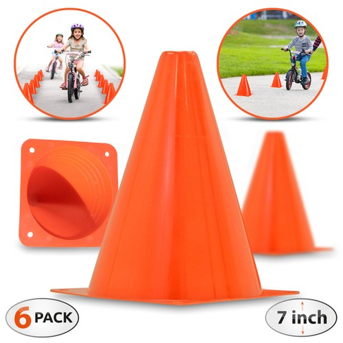 6-Pack 7-Inch Plastic Traffic Cones - Bright Orange, Multipurpose Use