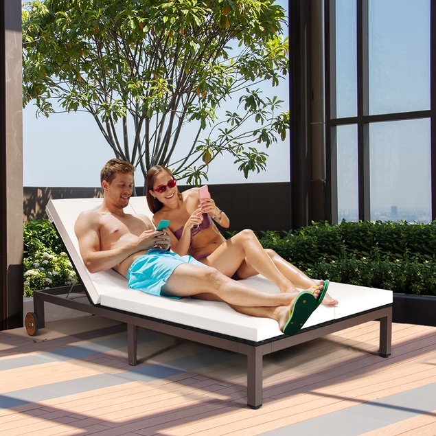 Costway 2-Person Patio Rattan Chair Recliner Adjustable Cushioned W/Wheel