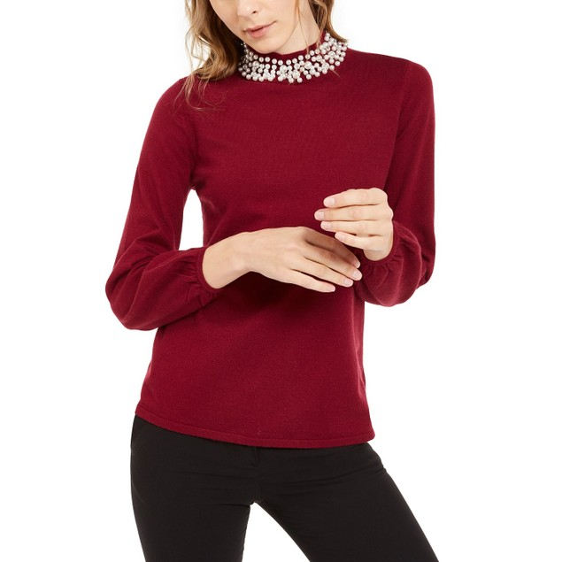 Alfani Women's Pearl-Neck Blouson Sweater Maroon Size X-Large
