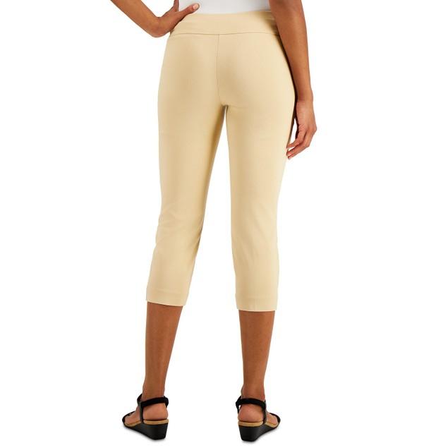 Alfani Women's Petite Tummy-Control Pull-On Capri Pants Brown Size 8