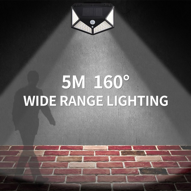 2Pcs 100 LED Solar PIR Motion Sensor Wall Light