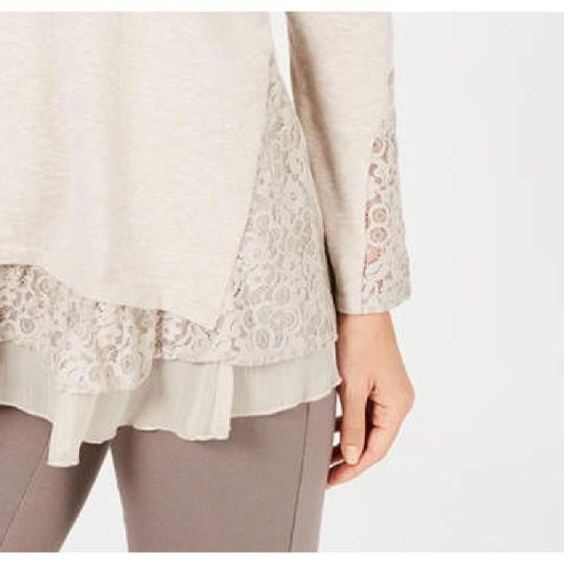 Style & Co Women's Lace Hem Tunic Sweater Beige Size Large