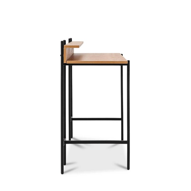 """Monster Living Querencia 34""""H Rectangular Home Office Study Writing Desk with Acacia Top and Steel Legs"""