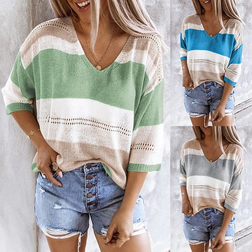 Beach Knit Sweater Top With Striped Color Matching