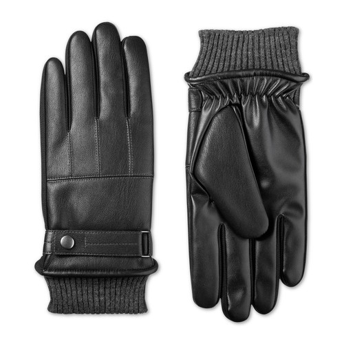 Isotoner Signature Men's Faux-Leather Knit-Cuff Gloves Black Size Medium